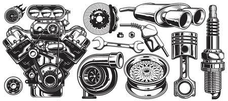 Conjunto de elementos de servicio de reparación de automóvil monocromo aislado sobre fondo blanco.