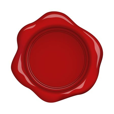 Red wax seal isolated on white background Çizim