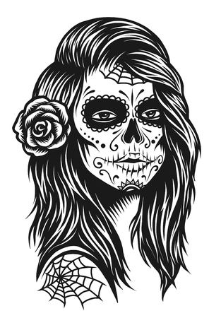 흰색 배경에 머리카락에 장미와 흑백 두개골 소녀의 그림