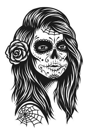 Illustratie van zwart-wit schedel meisje met roos in haar op witte achtergrond