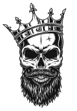 Ilustração do crânio preto e branco na coroa com barba isolada no fundo branco