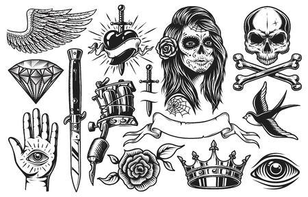 Set van vintage zwart-witte tattoo elementen geïsoleerd op een witte achtergrond Stockfoto
