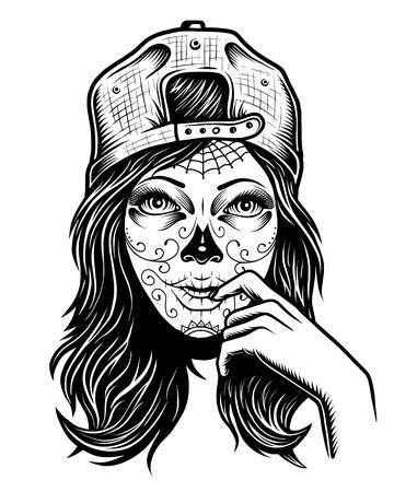 黒と白のスカル キャップ ホワイト バック グラウンドでの頭の上に女の子のイラスト