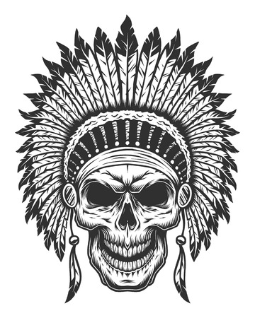 Skull of american indian. Wild West theme. Monochrome style. Isolated on white Illustration