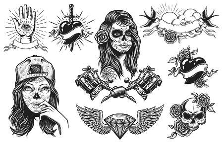 Set van vintage zwart-witte tattoo composities geïsoleerd op een witte achtergrond Stockfoto