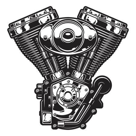 ビンテージ カスタム バイク、チョッパー エンジンのイラストです。