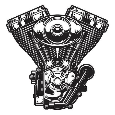 Illustration of vintage custom motorcycle, chopper engine.