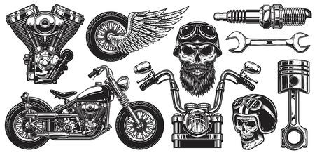 Set of monochrome motorcycle elements. Isolated on white background Vettoriali