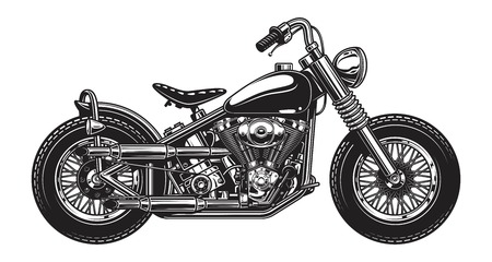 Monochrome illustration of classic motorcycle isolated on white background Ilustração