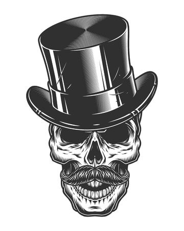 barbershop: Monochrome illustration of skull with top hat and moustache isolated on white background