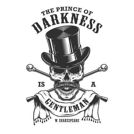 Emblema de los caballeros con el cráneo y el sombrero de copa. En capas. Aislados en blanco Foto de archivo - 83750510