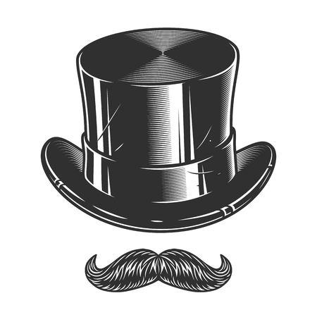 Illustrazione monocromatica di cappello e baffi isolati su sfondo bianco Archivio Fotografico - 83750511
