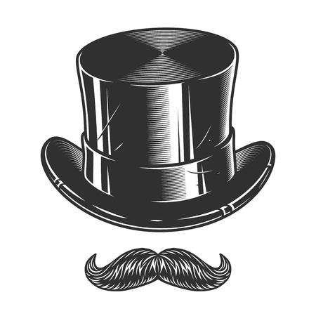 Monochrome illustration of top hat and moustache isolated on white background