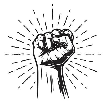 Monochrome illustration of fist and sunburst