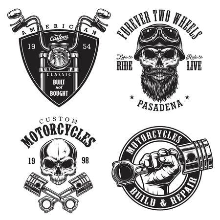 Set van vintage aangepaste motorfiets emblemen Stock Illustratie