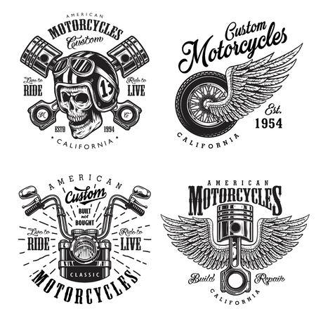 Set of vintage custom motorcycle emblems