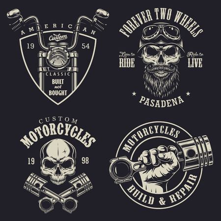 ribbon: Set of vintage custom motorcycle emblems. Illustration