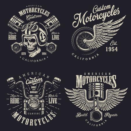Set van vintage aangepaste motorfiets emblemen.