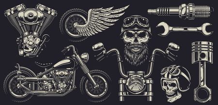 Set of vintage custom motorcycle emblems. Ilustracja