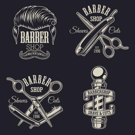 Set di emblemi vintage barbershop, etichette, distintivi, loghi. Layered. Il testo è su un livello separato. Vettoriali