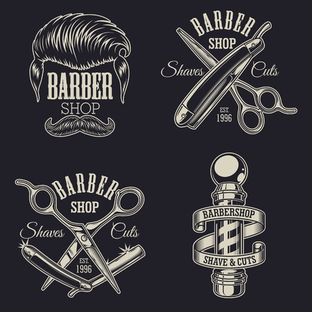 Set of vintage barbershop emblems, labels, badges, logos. Layered. Text is on separate layer.