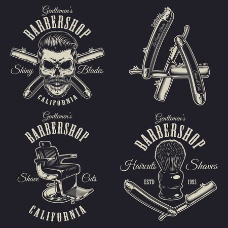 Set van vintage barbershop emblemen, etiketten, insignes, logo's. Layered. Tekst staat op een aparte laag. Geïsoleerd op zwarte achtergrond