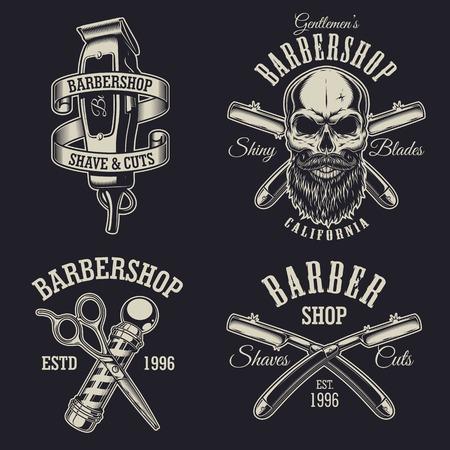 ビンテージの理髪店エンブレム、ラベル、バッジ、ロゴのセットです。階層化されます。別のレイヤー上のテキストが。黒の背景に分離