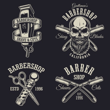 Set of vintage barbershop emblems, labels, badges, logos. Layered. Text is on separate layer. Isolated on black background Imagens - 84217468