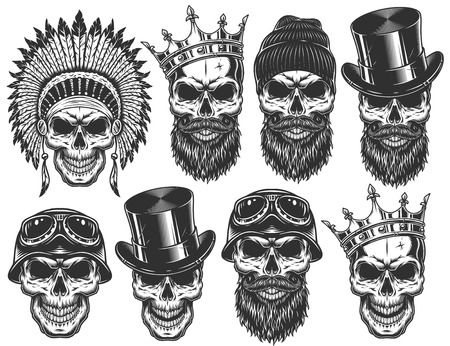 Set of different skull characters with different hats and accessories. Monochrome style. Isolated on white background.