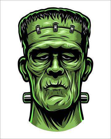 Ilustración de color de la cabeza de Frankenstein. Foto de archivo - 84902653