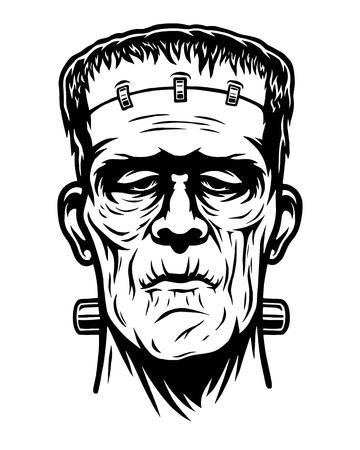 Monochrome illustration of Frankenstein head.