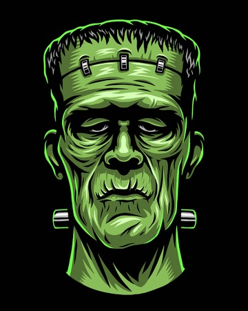 Color illustration of Frankenstein head.