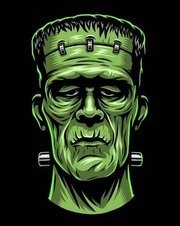 Ilustración de color de la cabeza de Frankenstein. Foto de archivo - 84902606