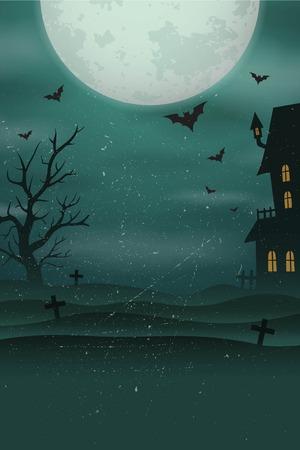 Fondo del cartel de Halloween. Paisaje brumoso del cementerio con la vieja casa de miedo, árbol, murciélagos, gran luna.