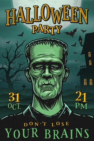 Halloween party poster with monster, zombie, house, tree and bats Stock Illustratie
