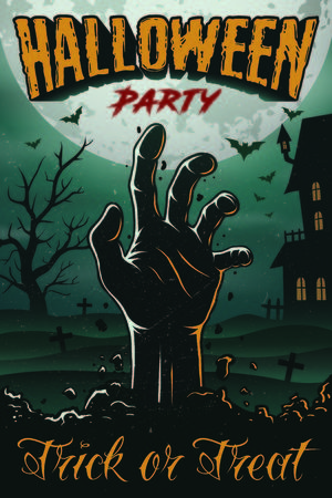 Halloween party poster with zombie s hand, house, tree and bats. foggy graveyard landscape at night. Ilustracja