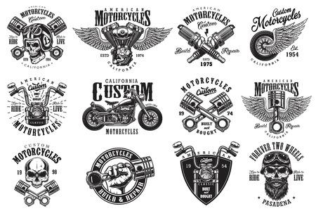 Ensemble d'emblèmes de moto custom vintage, étiquettes, badges, logos, estampes, modèles. Layered, isolé sur fond blanc Easy rider