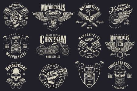 Set of vintage custom motorcycle emblems, labels, badges, logos, prints, templates. Layered, isolated on dark background Easy rider 版權商用圖片 - 85245624
