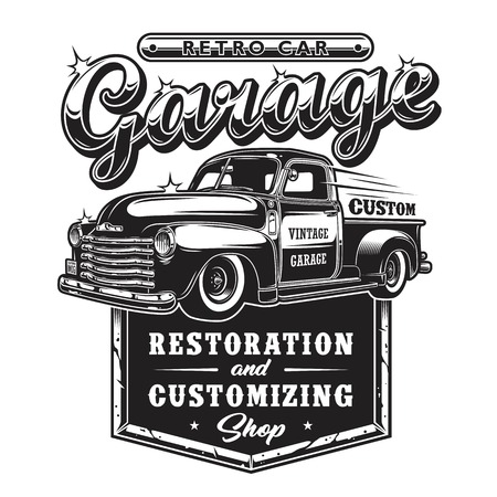 Retro- Autoreparaturgaragenzeichen mit Retrostil-LKW. Restaurierungsgeschäft nach Maß. Standard-Bild - 89468414