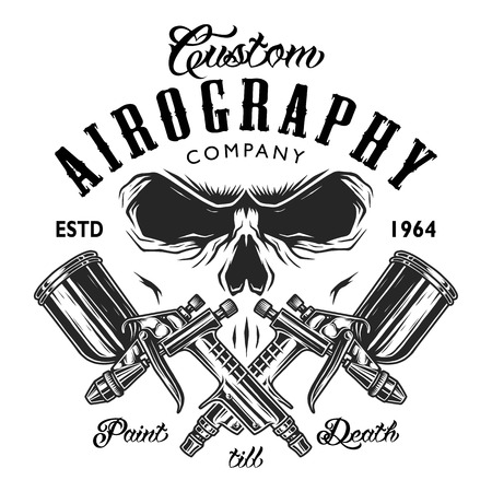 Custom aerography company emblem with spray guns and skull face.