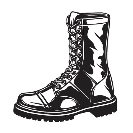Monochrome illustration of military boot. isolated on white