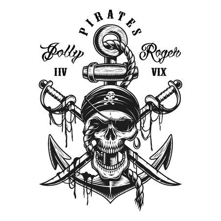 Godło czaszki pirata z mieczami, kotwicą i liną. Na białym tle.