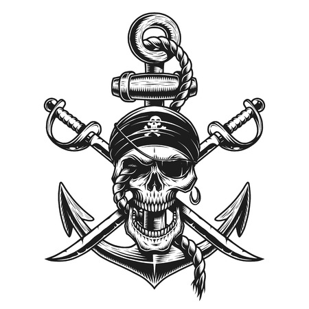 Pirate skull emblem with swords, anchor and rope. On white background.