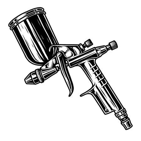 Zwart-wit illustratie van metaalspuitpistool. Geïsoleerd op witte achtergrond Stockfoto - 89461688