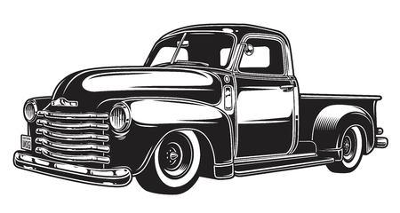 Zwart-wit illustratie van klassieke retro stijlvrachtwagen. Geïsoleerd op wit. Vector Illustratie
