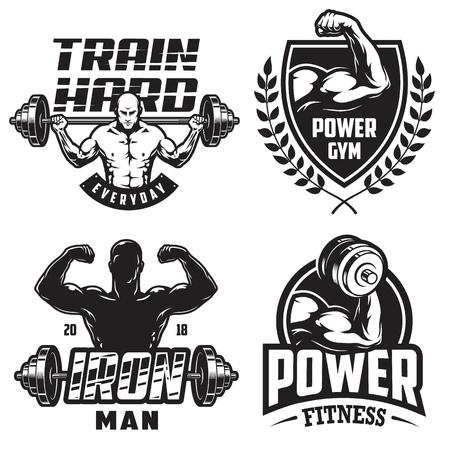 Grupo de emblemas monocromáticos do halterofilismo com silhouettas masculinos e equipamento de esporte na cor preta. ilustração vetorial