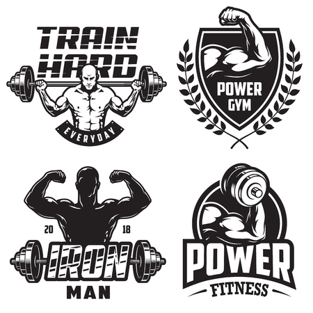 Set of monochrome bodybuilding emblems with male silhouettas and sport equipment in black colour. Vector illustration