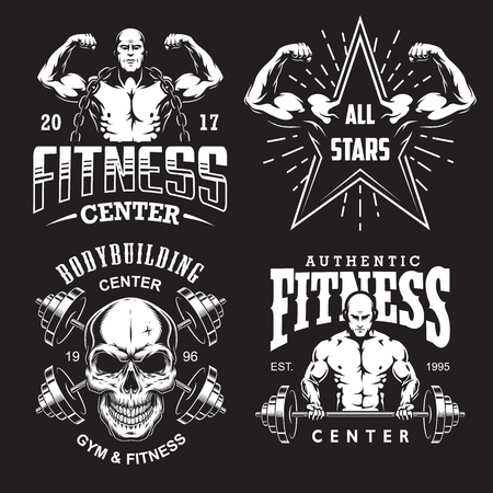Set of bodybuilding emblems with typography and sport equipment in white. Vector illustration