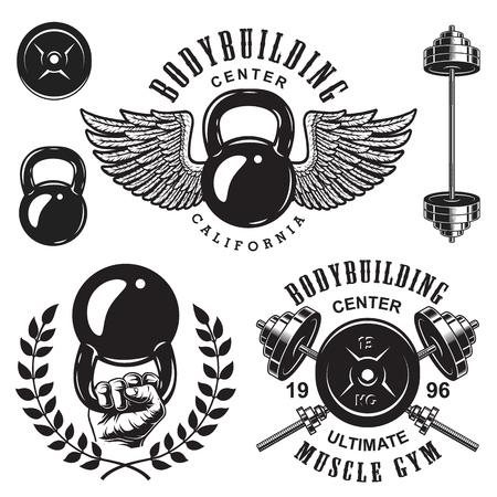 Set bodybuilding emblemen met kransvleugels en sportuitrusting in zwarte kleur. Vector illustratie