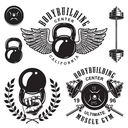 Set of bodybuilding emblems with wreath wings and sport equipment in black colour. Vector illustration